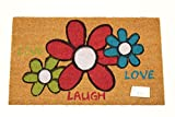 Home Garden Hardware 37198 Love Laugh Printed Coir Doormat,Natural,Small