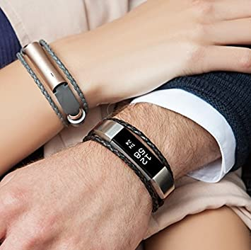 Gold Silver and Grey fitjewels Alta Alta HR Available in Black Bands Aurel Leather Replacement Band Brown