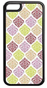 01-Colorful Damask Pattern- Case for the APPLE iphone 5c -Hard Black Plastic Outer Case with Tough Black Rubber Lining