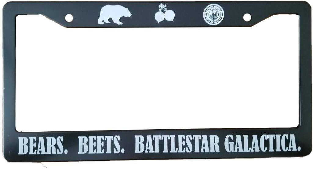 Bears, Beets, Battlestar Galactica License Plate Frame (Stainless Steel) - Perfect for Any The Office Fan!