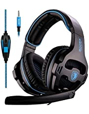 Sades SA810 Version Xbox One Gaming Headset with Microphone and PC Adapter Over Ear Stereo Headphones for PS4/PlayStation 4 Laptop Mac Computer,Black/Blue(Black&Blue)