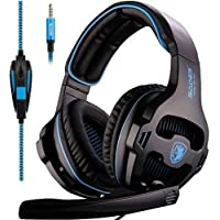 Sades SA-810 3.5mm Stereo Sound PC Gaming Headsets, Over Ear Gaming Headphones with Noise Isolation Microphone for PS4 / Xbox One / Computer / Phones