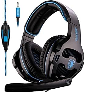 Sades SA-810 3.5mm Stereo Sound PC Gaming Headsets, Over Ear Gaming Headphones with Noise Isolation Microphone for PS4 / Xbox One/Computer / Phones