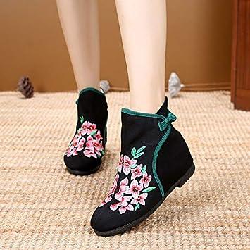 HOESCZS Zapatos De Mujer, Zapatos De Mujer, Estilo Chino, Botines Bordados, Altura De Las Mujeres, Un Pie, Botas De Mujer: Amazon.es: Deportes y aire libre