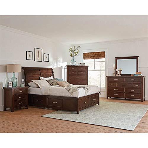 Coaster Barstow 5 Piece Queen Storage Sleigh Bedroom Set in Pinot Noir ()