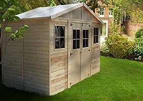 TIMBELA M332 Caseta de jardín de madera para exterior - Caseta de pino / abeto, construcción de paneles - H246 x 418 x 220 cm / 8 m2: Amazon.es: Jardín