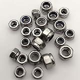 M4x0.7mm Zinc Plated Nylon Insert Hex Lock Nuts Silver Tone 100pcs