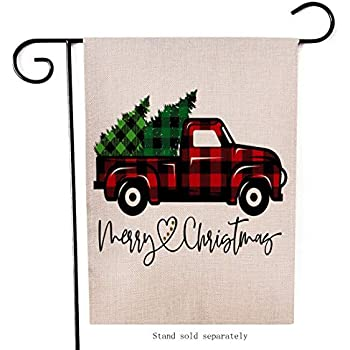 Artofy Merry Christmas Garden Flag, Decorative Xmas Outdoor Flag Sign with Buffalo Check Plaid Truck Red Black, Rustic Burlap House Yard Flag Winter Outside Decoration Holiday Home Decor Flag 12 x 18
