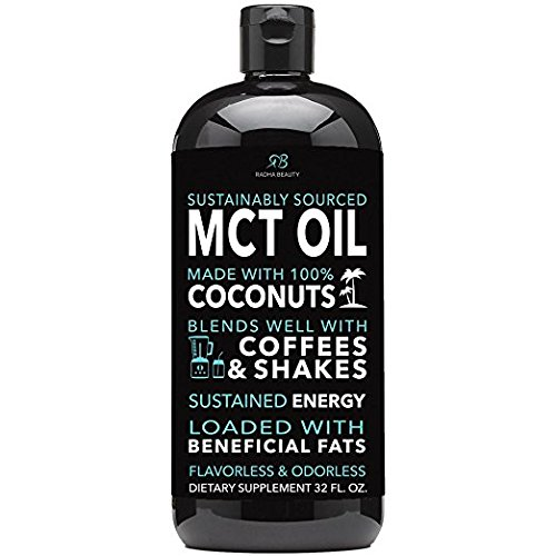 Radha MCT Oil made only from Sustainable Coconuts - 32oz BPA free bottle & Non GMO. Keto, Paleo, Gluten Free and Vegan Diet Approved