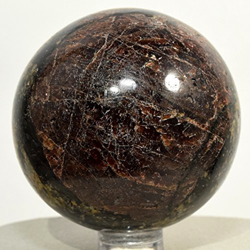 55mm Black Tourmaline w/Red Garnet Drivite Sphere Natural Almandine Crystal Ball Polished Mineral Stone - India + Plastic Stand
