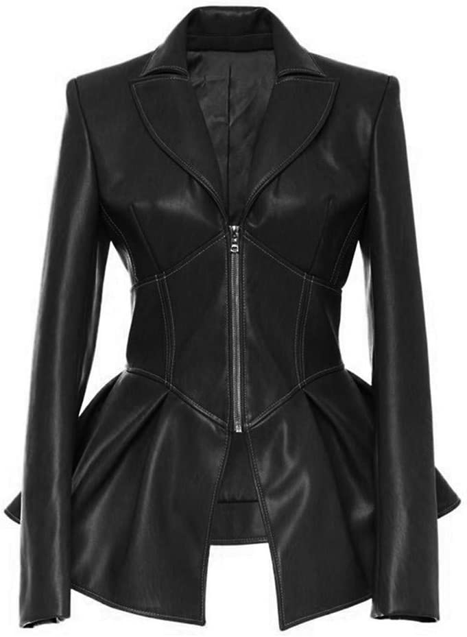 Excursion Clothing Womens Fashion Studded Perfectly Shaping Faux Leather Coat Moto Biker Hem Ruffle Jacket