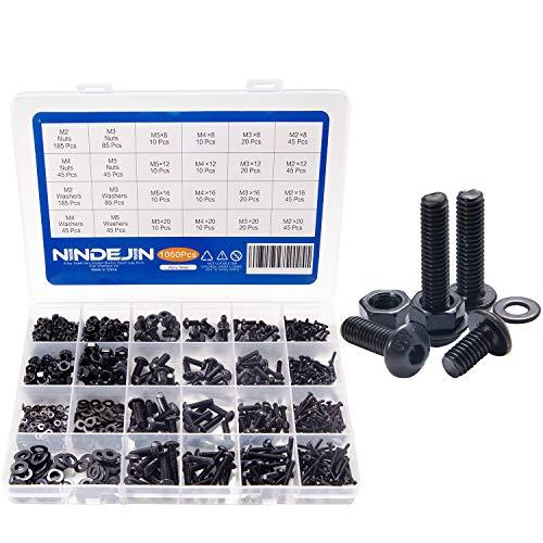NINDEJIN 1060pcs M2 M3 M4 M5 Alloy Steel Hex Socket Button Head Cap Screws with Nuts Flat Washers Kit Black Screw Assortment ()
