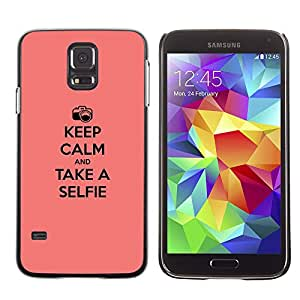 ROKK CASES / Samsung Galaxy S5 SM-G900 / KEEP CALM & SELFIE / Delgado Negro Plástico caso cubierta Shell Armor Funda Case Cover