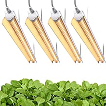 Byingo 2ft LED Grow Light - 96W (4 x 24W) Full Spectrum 2-Row V-Shape T8 Integrated Lamp Fixture - Extendable Design, Plug and Play - for Greenhouse, Indoor Plants Seeds Flowers, Pack of 4