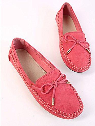 Bayamte Femme Chaussures Bateau Mocassins Loafers Confort Bowknot Rouge Avec OTnqOr7