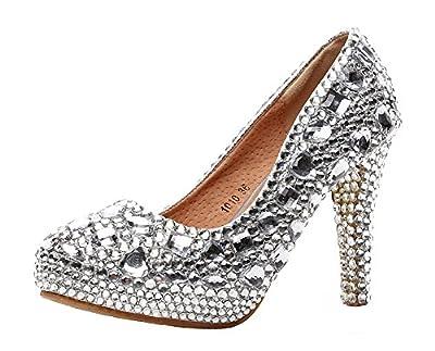 Jiandick Womens Rhinestone Platform Stiletto High Heels Wedding Prom Evening Dress Pumps