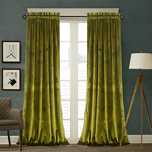 Roslynwood Velvet Curtains 2 Panels Set, Block Light Thermal Insulated Velour Rod Pocket Drapes for Bedroom and Living Room (52 x 84 inch, OliveGreen)