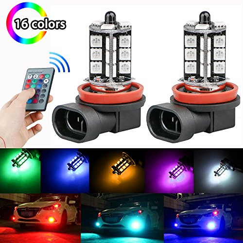 LinkStyle 2PCS H8/H11 RGB Multi-Color Changing Brightness Modes Adjustment LED Car Safe Driving Headlight Fog Light Lamp Bulbs with Remote Control (Fog Car)