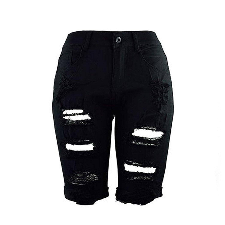 Creazrise Women's High Waist Distressed Stretch Shorts Jeans Bermuda Hot Shorts (Black,XL)