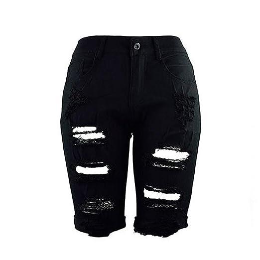 8265a277c Creazrise Women's High Waist Distressed Stretch Shorts Jeans Bermuda Hot  Shorts (Black,XL)