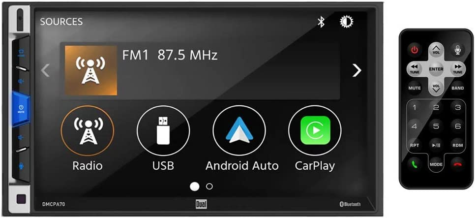 Dual Electronics 7-Inch Double-DIN in-Dash Mechless Receiver with Bluetooth, Apple CarPlay, and Android Auto