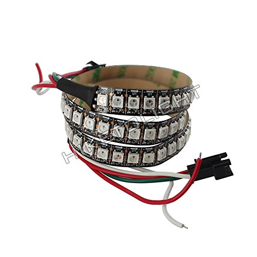 HIKETOLIGHT WS2812 LED Full Color Strip 144LEDs 1Meter IP20 Black PCB DC5V Flexible Pixel Lighting No Need Controller