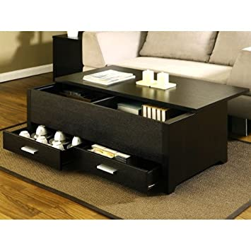 Elegant Garretson Storage Box Coffee Table In Espresso Finish