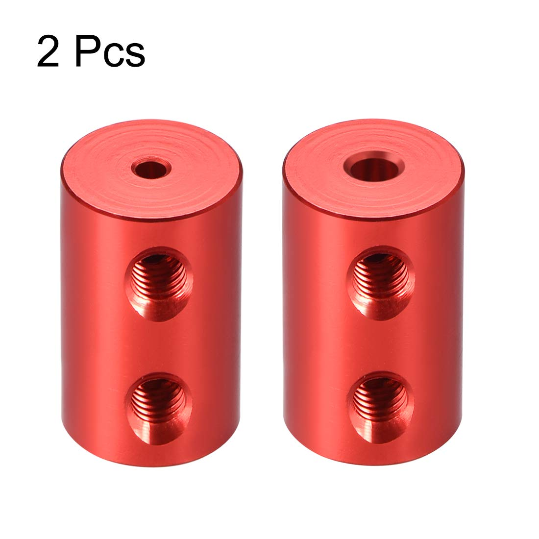 uxcell Shaft Coupling 2mm to 3mm Bore L20xD12 Robot Motor Wheel Rigid Coupler Connector Red 2 Pcs
