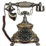 HomJo Antique Telephone Vintage Antique Style Button metal Corded Telephone Home Living Room Decor