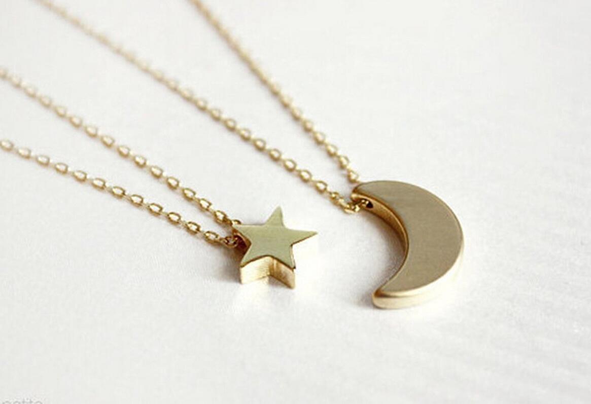 kimberleystore Día La collar de cadenas doublelayer de modo de las mujeres simples y la Luna