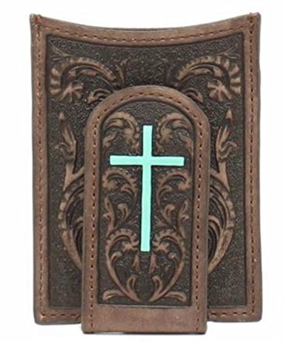 Ariat Men's Painted Cross Money Clip, Brown, One Size