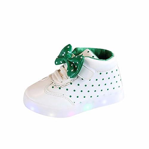 Zapatos Led NiñAs Zapatillas NiñO Punto Bowknot Zapatillas para BebéS Zapatos De Bebé Zapatillas De Deporte