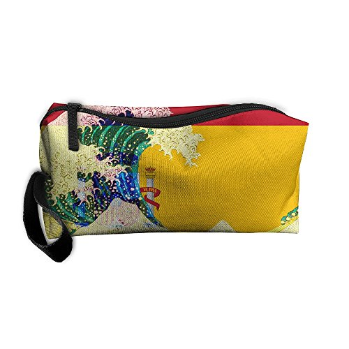 Spain Flag And Wave Off Kanagawa Toiletry Bag Multifunction Cosmetic Bag Portable Makeup Pouch Waterproof Travel Hanging Organizer - Spain To Usps Shipping