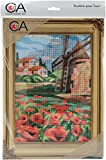 RTO Collection D'Art Stamped Needlepoint Kit 38X24cm-Windmill And Poppies