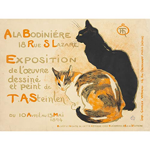 (Steinlen Bodiniere Artist's Own Exhibition Cats Advert Large Print Poster Wall Art Decor Picture )