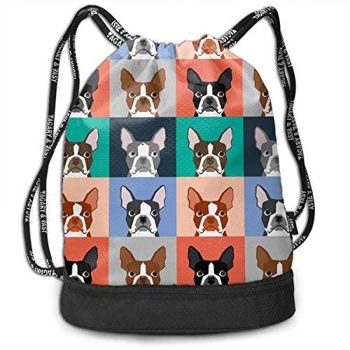 Zhangyi Repeat Dogs Puppy Boston Terrier Drawstring Backpack Sports Gym Cinch Sack Bag for Girls Boys Women Sackpack Dance Bag