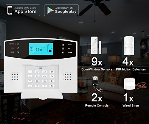 ERAY Home Alarm Systems GSM Wireless with Outdoor Solar Siren, Anti-tamper,...