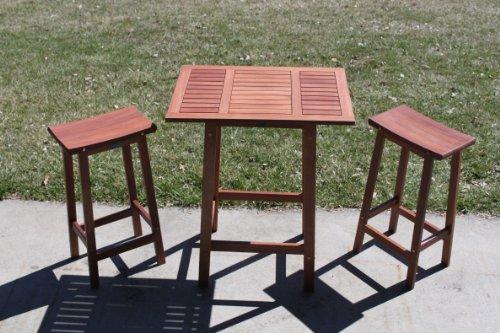 3pc Outdoor Wood Patio Balcony Saddle Bar Set