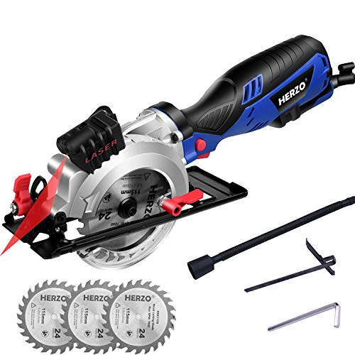 """HERZO Compact Circular Saw 4-1/2″ with Laser Guide, Max Cutting Depth 1-9/10"""" (90°), 1-3/10"""" (0°-45°) with 3 Wood Cutting Blades – 5.8A 3500 rpm"""