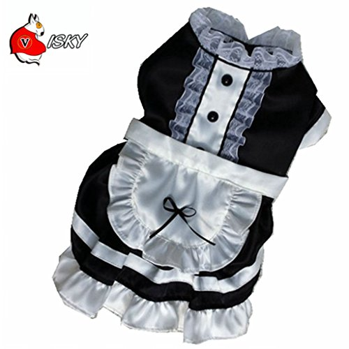 Leowow Dog Cat Apparel Maid Party Dress Pet Halloween Costumes-(Black, Double Extra Large) ()