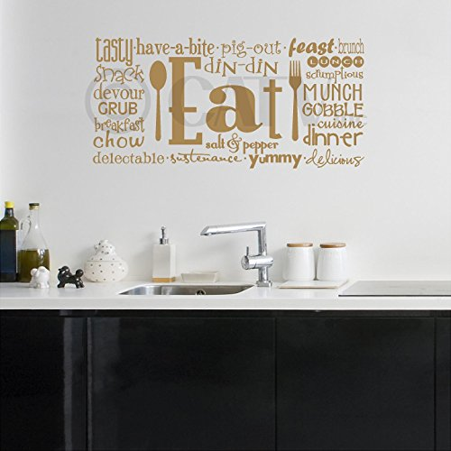 Gold Accent Lunch (Eat Phrases Vinyl Lettering Wall Decal Sticker (16x35, Metallic Gold))