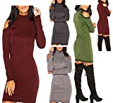 Womens Knitted Polo Neck Mixed Yarn Cold Shoulder Jumper Ladies Bodycon Dress