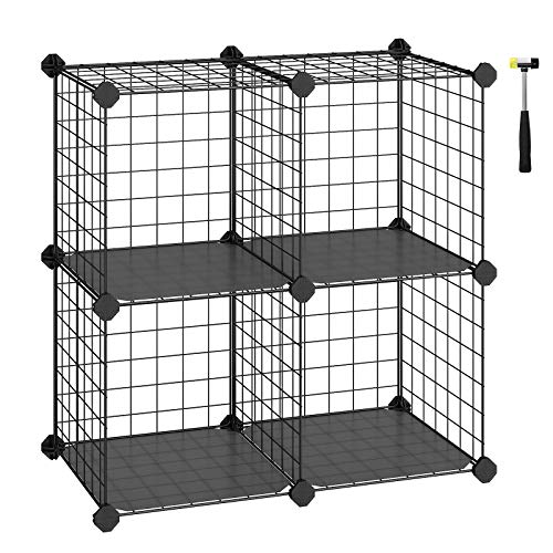 "SONGMICS Metal Wire Storage Cube, Shelves Organizer,Stackable Storage Bins, Modular Bookcase, DIY Closet Cabinet Shelf, 24.8"" L x 12.2"" W x 24.8"" H Black ULPI22H"