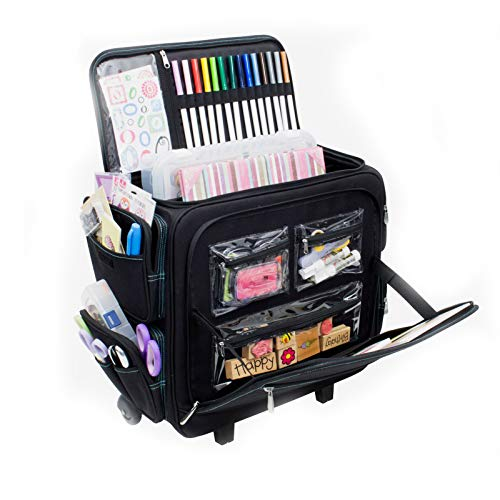 Everything Mary Deluxe Titan Teacher Rolling Organizer Storage Tote - Premium Rolling Case with Wheels and Handle for Teachers, Students, and School - Holds Textbooks, Laptops, Folders, and Binders (Rolling Cart With Cover)