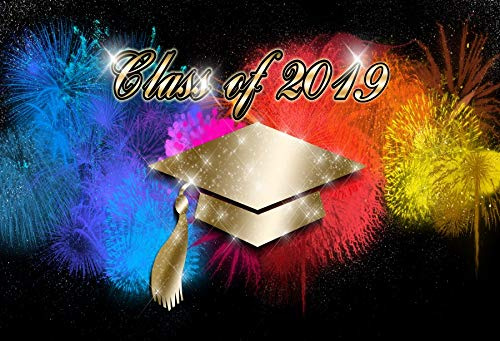 Baocicco 8x6.5ft Class of 2019 Backdrop Gorgeous Firework Trencher Cap Sparkling Glitters Photography Background Congratulations Graduation Party Prom Party High School Education Photo Studio Prop]()