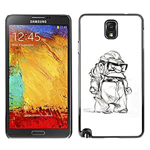 Planetar® ( Grumpy Old Man Retired White Black ) SAMSUNG Galaxy Note 3 III / N9000 / N9005 Fundas Cover Cubre Hard Case Cover