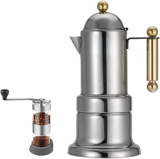 Cafetera espresso italiana, olla Moka de acero inoxidable, tetera doble, con filtro de malla fina y válvula de seguridad, para el hogar y la oficina: Amazon.es: Hogar