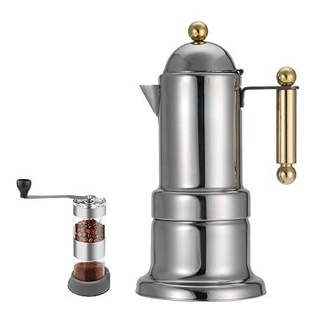 Cafetera italiana de acero inoxidable Moka, doble tetera ...