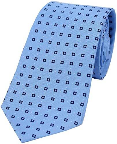 Light Blue/Navy Neat Box Pattern Silk Tie by David Van Hagen