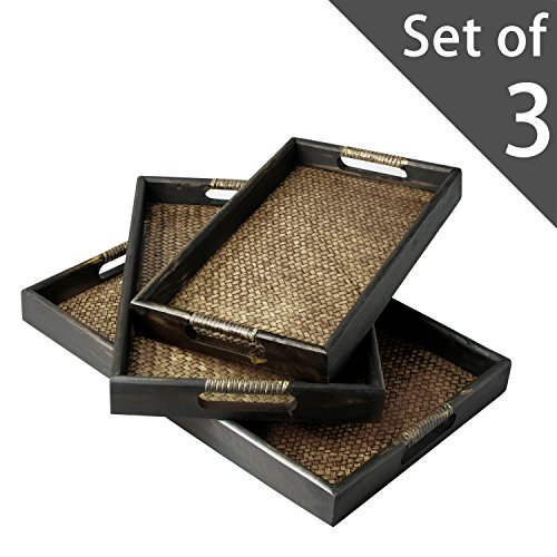 Set of 3 Dark Brown Wood and Woven Rattan Nesting Serving Trays with Cut-Out Handles (Brown Serving Platter)